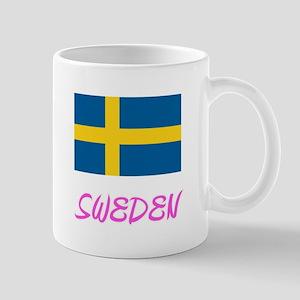 Sweden Flag Artistic Pink Design Mugs