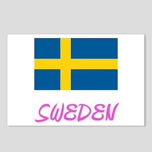 Sweden Flag Artistic Pink Postcards (Package of 8)