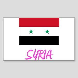 Syria Flag Artistic Pink Design Sticker