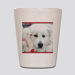great pyrenees with teddy bear Shot Glass