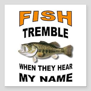 """FISH TREMBLE Square Car Magnet 3"""" x 3"""""""