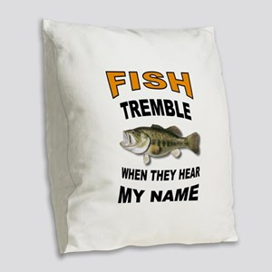 FISH TREMBLE Burlap Throw Pillow