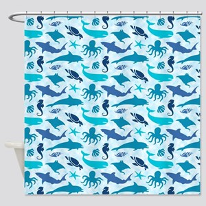 Sea Life Pattern Shower Curtain