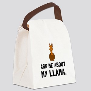Ask Me About Llama Canvas Lunch Bag