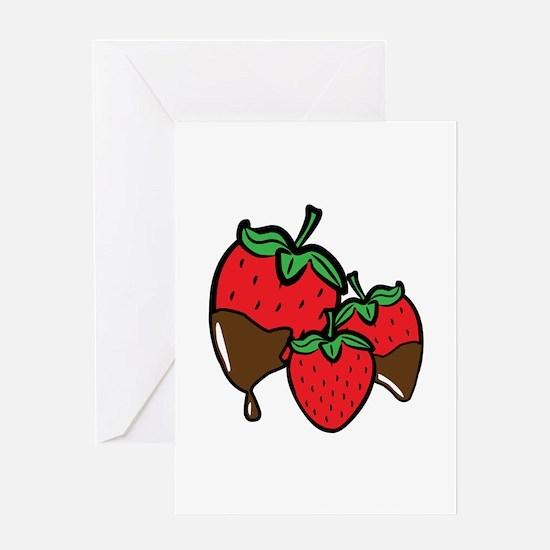 Chocolate Dip Strawberries Greeting Cards