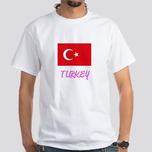 Turkey Flag Artistic Pink Design T-Shirt