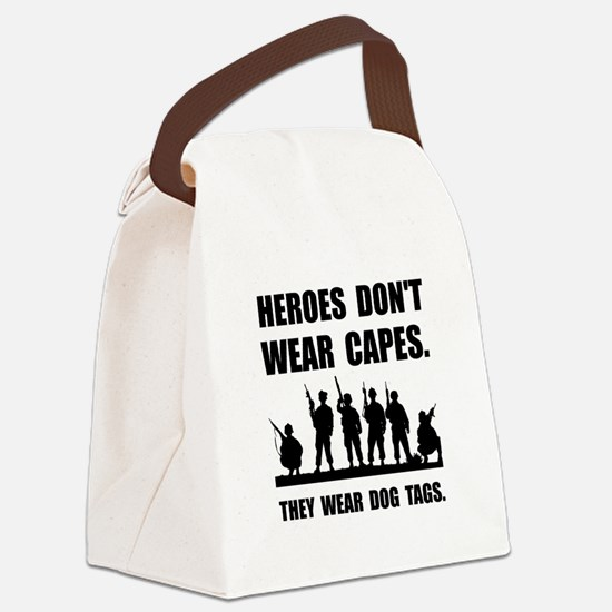 Heroes Wear Dog Tags Canvas Lunch Bag