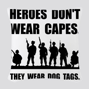 Heroes Wear Dog Tags Woven Throw Pillow