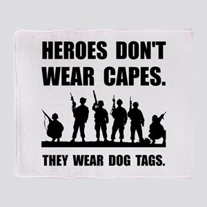 Heroes Wear Dog Tags Throw Blanket