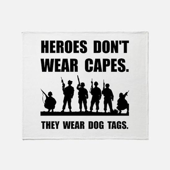 Heroes Wear Dog Tags Throw Blanket