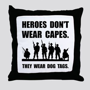 Heroes Wear Dog Tags Throw Pillow