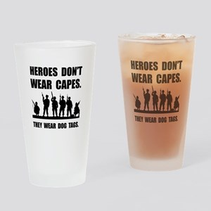 Heroes Wear Dog Tags Drinking Glass