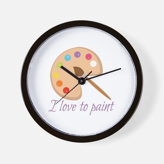 I Love To Paint Wall Clock