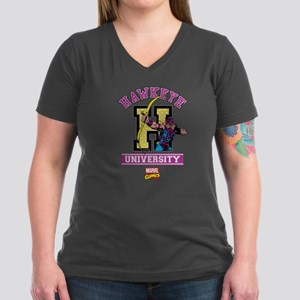 Hawkeye University Women's V-Neck Dark T-Shirt