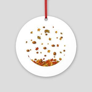 Autumn Leaves & Pumpkins Ornament (Round)