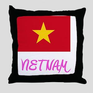 Vietnam Flag Artistic Pink Design Throw Pillow
