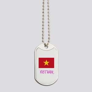 Vietnam Flag Artistic Pink Design Dog Tags