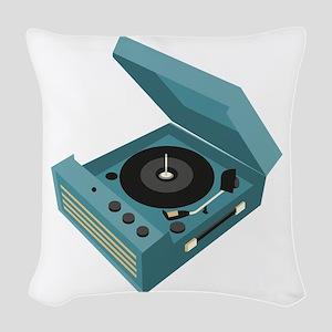 Record Player Woven Throw Pillow