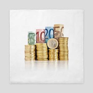 euro currency Queen Duvet