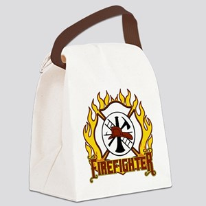 Firefighter Fire and Badge Canvas Lunch Bag