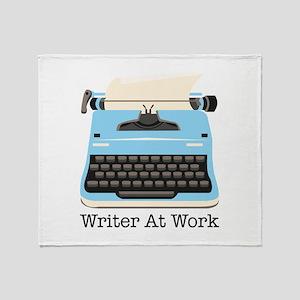 Writer At Work Throw Blanket
