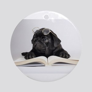 Black Pug Ornament (Round)