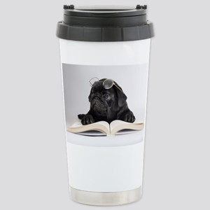 Black Pug Stainless Steel Travel Mug