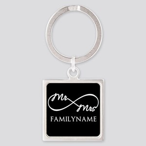Black White Mr. and Mrs. Wedding Square Keychain