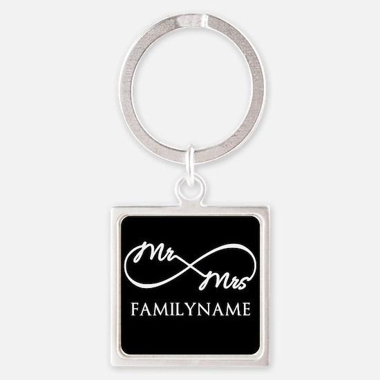 Black White Mr. and Mrs. Wedding Square Keychain