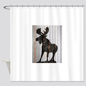Moose Stance on Wood by Leslie Harlow Shower Curta