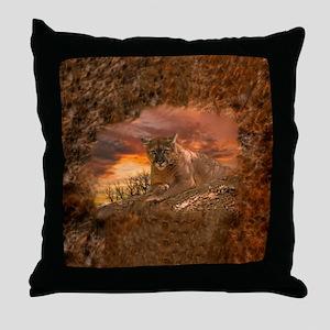 Sunset Cougar Throw Pillow