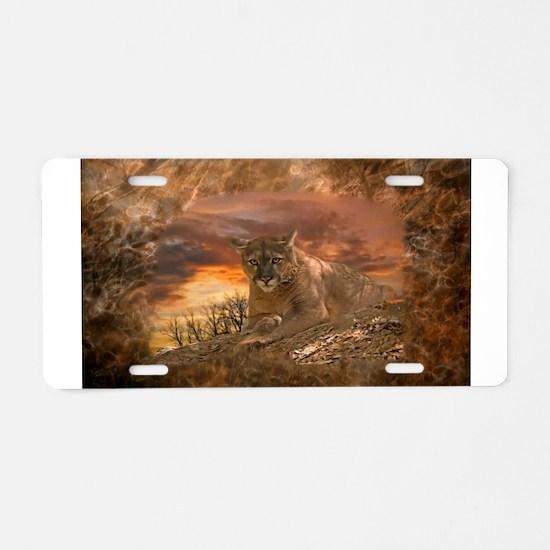 Sunset Cougar Aluminum License Plate