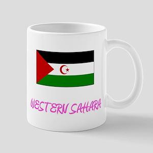 Western Sahara Flag Artistic Pink Design Mugs
