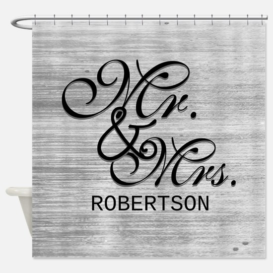 Gray and White Distressed Mr. and M Shower Curtain