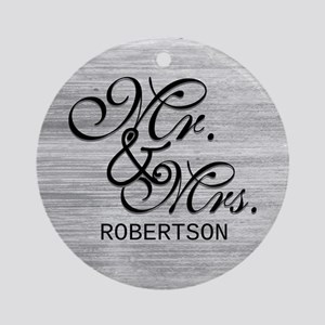 Gray and White Distressed Mr. and Ornament (Round)