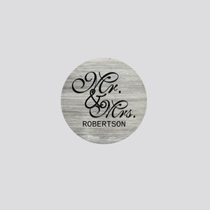 Gray and White Distressed Mr. and Mrs. Mini Button