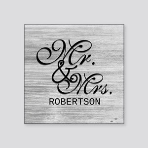"Gray and White Distressed M Square Sticker 3"" x 3"""