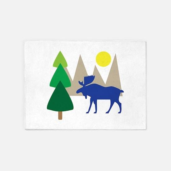 Moose Scene 5'x7'Area Rug