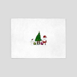 Christmas Santa and Cat 5'x7'Area Rug