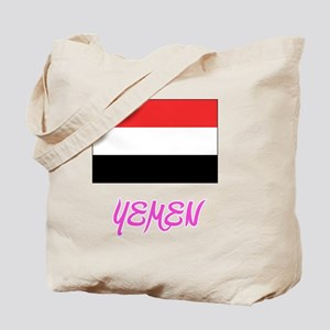 Yemen Flag Artistic Pink Design Tote Bag