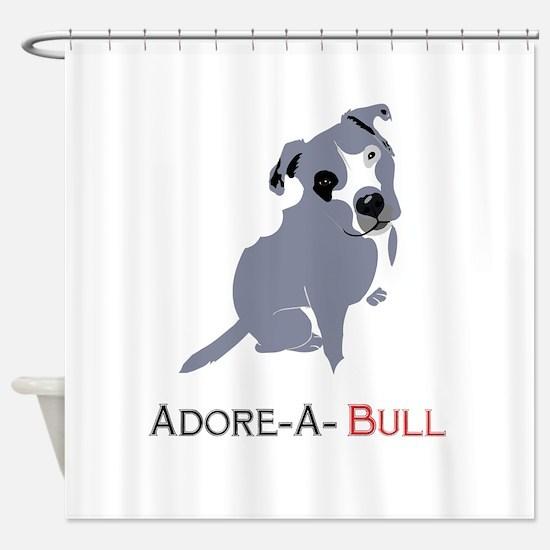 Grey Pittie Puppy Adore-A-Bull Shower Curtain