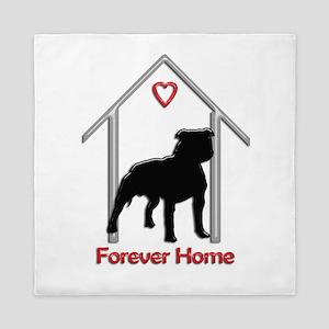Forever Home Logo Pitbull Black Queen Duvet