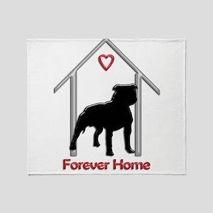 Forever Home Logo Pitbull Black Throw Blanket