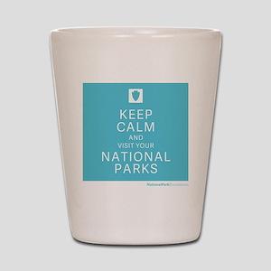 NPF keep calm blue Shot Glass