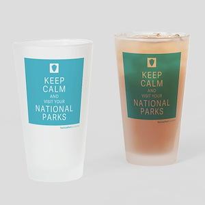NPF keep calm blue Drinking Glass