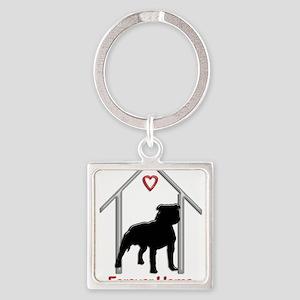 Forever Home Logo Pitbull Black Keychains