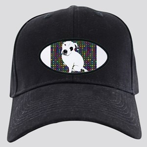 Cute white pit Bull circle pattern Black Cap