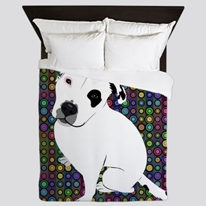 Cute white pit Bull circle pattern Queen Duvet