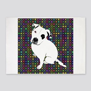 Cute white pit Bull circle pattern 5'x7'Area Rug
