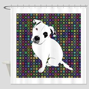 Cute white pit Bull circle pattern Shower Curtain